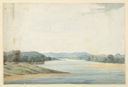 f.6   'Gaut of Collygur on the Godavery.  Ensign J. T. Blunt Eng. fecit. February  1795.  Vide Asiatic Annual Register, A.D. 1800,  Miscellaneous Tracts, p.128.  River scene.'